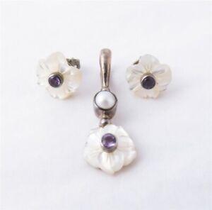 Sajen Sterling Silver Mother of Pearl Amethyst Pearl Flower Pendant & Earrings