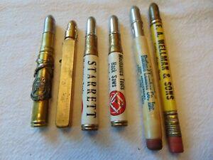 Vintage Lot Bullet Pencils Bob Burns Arkansas Wellmans Sons Stock Yards Starrett