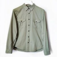 J.Crew Olive Khaki Green Field Shirt Button Down Long Sleeve Mens Size XL