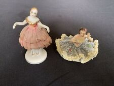 Vintage German Dresden Porcelain Lace Figurine of Woman . Plus ForeIgn Lady.