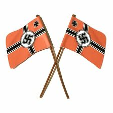 Britains Deetail Style German WW2 Toy Soldier Flags & Poles x2 (1:32 Scale)