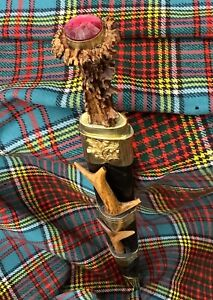Custom Scottish Roe Deer Hilted Dirk Knife an Fork Dagger Tourmaline Rubellite