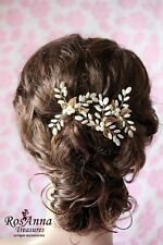 Bridal Pearl Wedding Proms Hair Vine Comb Headband Pin Headpiece Gold Leaves