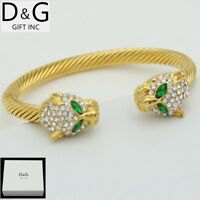 """DG Mens Gold Stainless Steel,CZ Double Panther 7"""" Cuff Cable,Bracelet,Unisex,Box"""