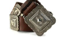 """Handcrafted Concho Leather Belt Stamped 1992 & Signed 28-32"""" S/M Sterling Silver"""