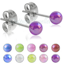 AB Neon Aurora Borealis UV Round 4mm Ball Ear Stud Earring Gift For Girl Boy Kid