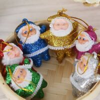 6Pcs Glittering Santa Claus Pendant Xmas Tree Hanging Ornaments Christmas Decor*