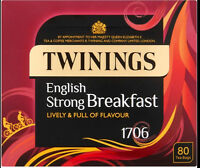 2 boxes Twinings English Strong Breakfast 1706  80 TeaBags  NEW PACKAGING