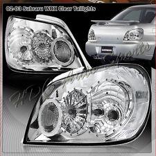 For 2002-2003 Subaru Impreza WRX Chrome Housing Clear Lens Rear Tail Light Lamps