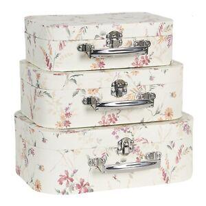 3er Set Koffer Box Kartonage Schachtel Shabby Vintage Deko