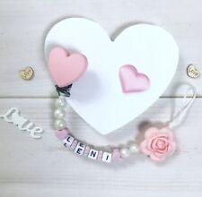 Schnullerkette Nuckelkette mit Namen Wunschname Silikon Beißkette rosa weiß