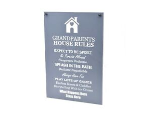 Grandparents House Rules, Novelty Sign - Ideal Gift / Present, Grey & White