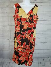 Madison Leigh Womens Dress Sz 14 Black Red Floral Sleeveless V-Neck