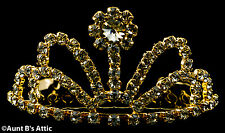 Tiara Gold Metal & Rhinestone Mini Tiara Princess, Queen, Or Debutante Headpiece