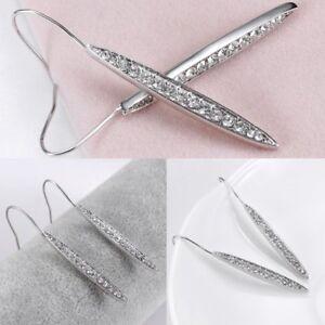 Shining Crystal Rhinestone Long Dangle Drop Hook Earrings Ear Stud Women Fashion