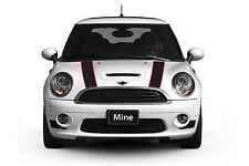 Mini Cooper 2014-2018 Black and Red Hood Stripe Decals - Exact Fit No trimming