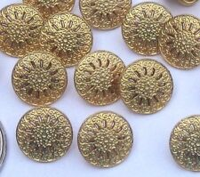 """lot 16 Pierced fancy floral gold tone METAL new vintage small set buttons 7/16"""""""