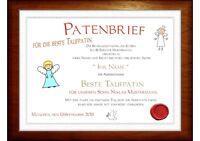 """Patenbrief für den / die beste Taufpatin"""" Dankes-Urkunde"""