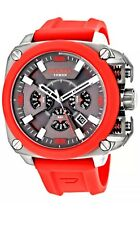 Diesel BAMF Timeframe AW 16 Chronograph Red Rubber Men Watch DZ7368 New in Box