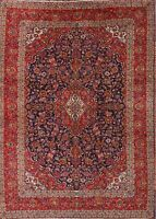 Vintage Traditional Floral Navy Blue/Red Kaashan Persian Oriental Area Rug 10x13