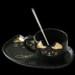 Ceramic Mug Set With Tray Coffee Handgrip Animal Cute Cat Mugs Drinkware Tea Cup