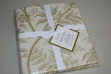 New Williams Sonoma Ivory GOLD TOILE Kitchen TOWELS Beige Set of 2