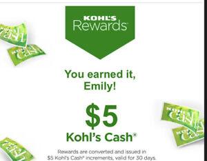 $5 Kohls Cash exp 8/31/21