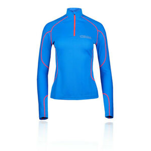 OMM Womens Meridian Zip Running Top - Blue Sports Warm Breathable Reflective