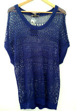 NWT Tommy Bahama Navy Blue Loose Lace Knit Linen Pullover Boxy Sweater XL $118