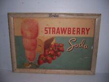 Vintage Borden's Strawberry Soda Wooden Frame Advertising Poster Store Display