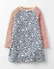 Mini Boden hotchpotch ditsy flower print tunic dress blue red age 2 - 12