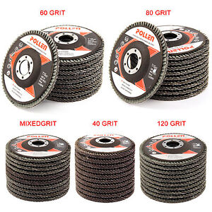"10Pcs Flap Discs Strong Sturdy 115mm 4.5"" Sanding Grinding Wheels 40/60/80/120"