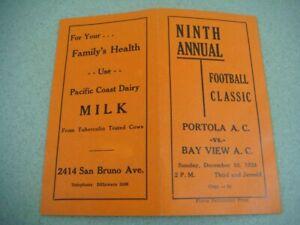 1933 Football Classic program Portola vs. Bay View