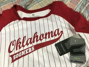 new OU OKLAHOMA SOONERS Stripe 3/4 Sleeve T Shirt Boys Youth L 16-18 baseball