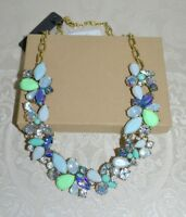 NWT $60 J CREW Mixed Gemstones Flower Petal Collar Party Necklace Aqua and Lilac