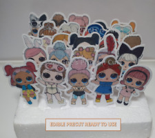 24 LOL dolls pre-cut Printed Edible Stand Up with tab to insert Cake Decoration
