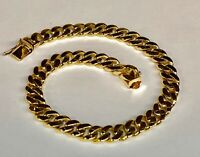 "14k Solid Yellow Gold Handmade Curb Link Men's Bracelet 7.5 MM 7.5"" 30 grams"