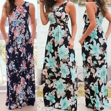 UK Women Sleeveless Party Prom Dress Ladies Floral Maxi Beach Dress With Pockets