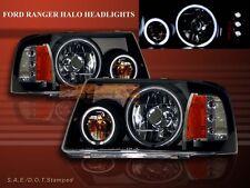 2001-2011 FORD RANGER TWIN HALO CCFL LED BLACK HEADLIGHTS LH + RH HEAD LAMPS