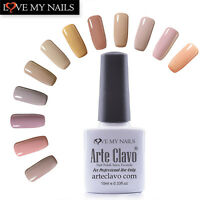 Arte Clavo 10ml Soak Off UV LED Nude Color Gel Nail Polish Base &Top Coat Set