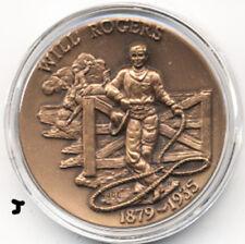 Vaudeville Cowboy, Actor Will Rogers Bronze Art Medal In Preservation Capsule