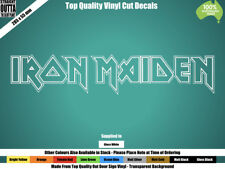 IRON MAIDEN DECAL - HEAVY METAL, HARD ROCK, MAN CAVE - WHITE or COLOURS