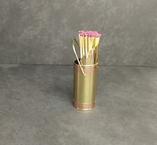 Long Match Holder Brass finish with copper bands