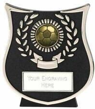 Emblems-Gifts Curve Silver Ball Football Plaque Trophy With Free Engraving
