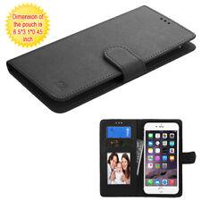 MyJacket Wallet Slim Flap Case Card Slots Pockets Black For Large XL Phones