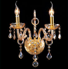 2 Arm Cognac Gold Crystal Wall Fixtures Lamp Porch Corridor Lamp Bedside Light
