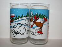 Set / 2 Merry Krys Moose Krystal & Coca Cola Christmas Collectible Drink Glasses