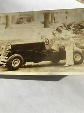 MG MIDGET LITTLE PERSON REAL PHOTO POST CARD ORCAJO AUTO CAR