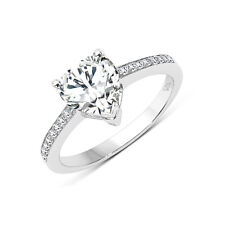 8 MM Heart Shaped White Cubic Zirconia Ring in 925 Sterling Silver - Size 8