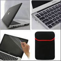 "4in1 Black Rubberized Hard Case Cover Skin for MacBook Air Pro Retina 11"" 13 15"""